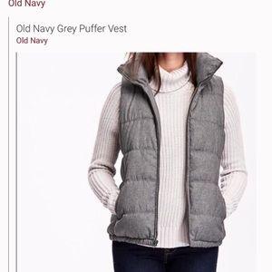 Grey Puffy Old Navy Vest